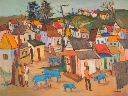 Georges DESARMES (né en 1950)  Village aux...