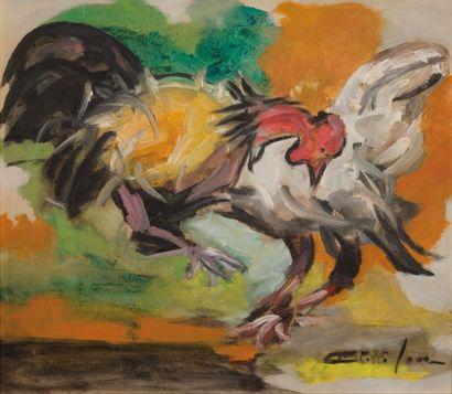 Dieudonné CÉDOR (1925-2010)  Combat de coqs...