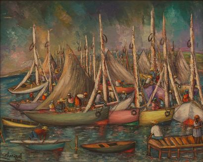 Wilner CHERIZOL (Né en 1959)  Bateaux pays...
