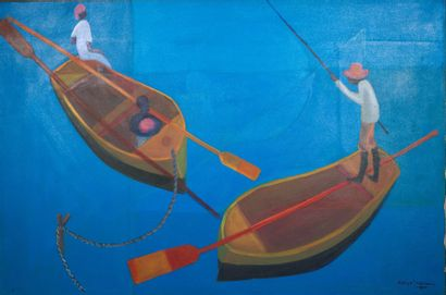 Calixte HENRY (1933-2010)  Pêcheurs  Huile...