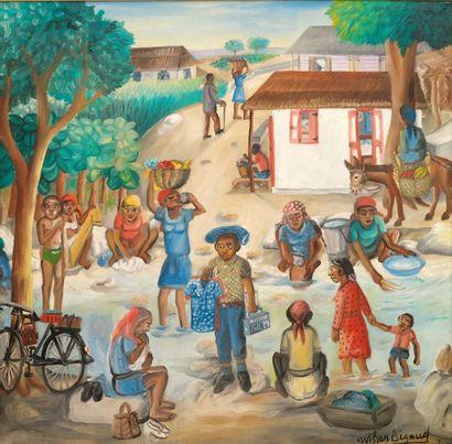 Wilson BIGAUD (1931-2010)  Les lavandières...