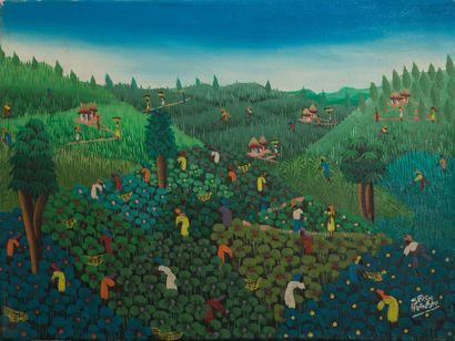 Serge AUGUSTE (Né en 1960)  À la récolte...