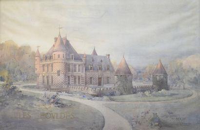 GRANDE AQUARELLE.  Vue du château néo-renaissance...