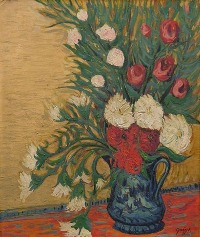 Alphonse QUIZET (1885-1955)  Vase bleu avec...