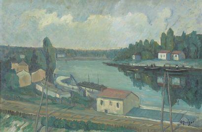 Alphonse QUIZET (1885-1955)  Voie ferrée...