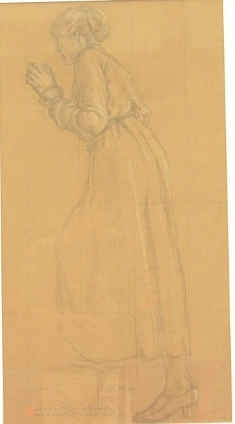 Armand PAULIS (1884-1979),  La mère  Fusain...