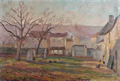 Erik SÄÄF (1856-1934)  La place du village...