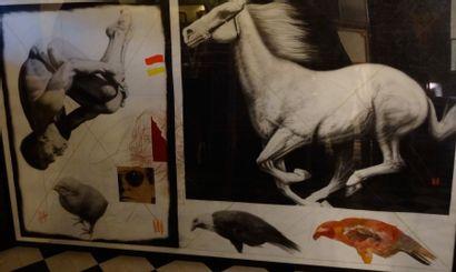 JOSEPE PIRILLO R.N.H, 1990 Crayon gris, gouache,...