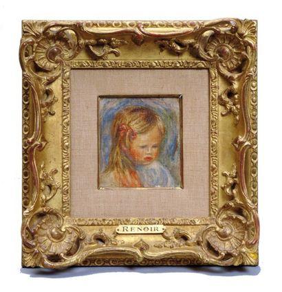 RENOIR Pierre Auguste (1841-1919) Tête d'enfant (Coco) Huile sur toile contrecollée...