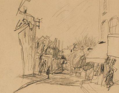 Pierre BONNARD (1867-1947)Rue et personnageDessin...