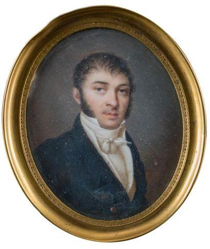 Ecole française milieu XIXème siècle Portrait...