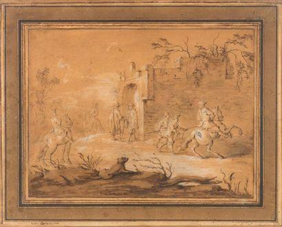 Ecole française du XVIIIème siècle Cavaliers...