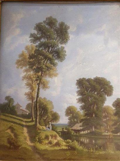 Mathilde ROZET (Active en 1850) Deux promeneuses...