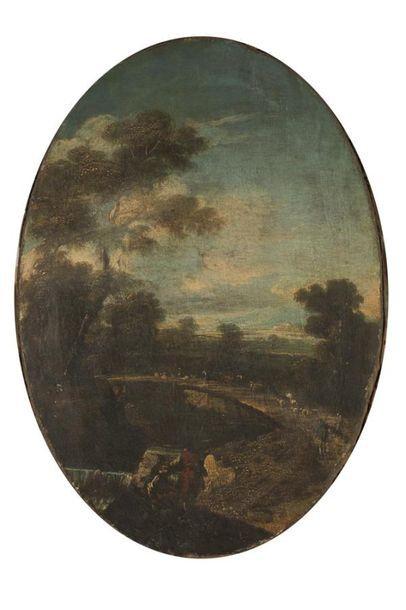 Ecole ITALIENNE du XVIIème siècle Paysage...