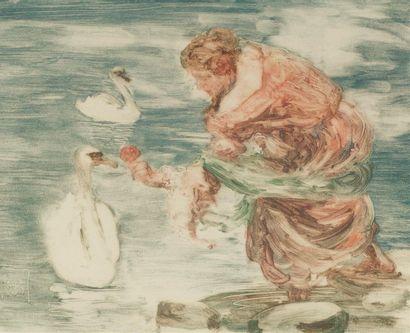 Rupert BUNNY (1864-1947) Femme aux cygnes...