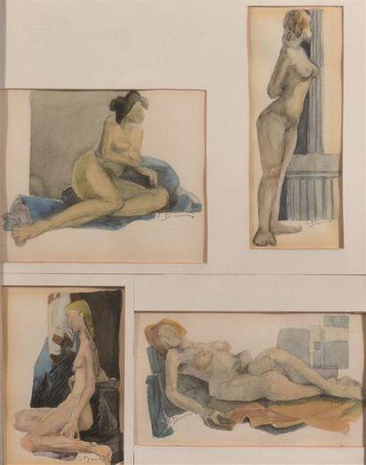 G. Dun (?) Quatre études de femme nues....