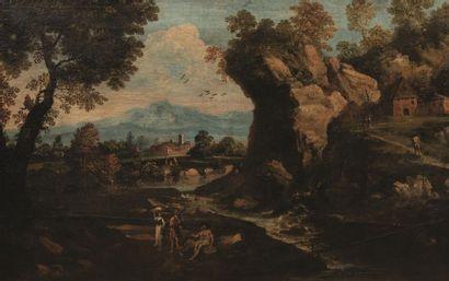 Ecole VENITIENNE du XVIIIème siècle, suiveur de Marco Ricci Personnages près d'un...