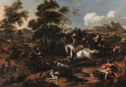 Attribué à Dirk MAAS (1659-1717) Chasse au...