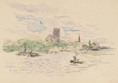 Henri Edmond CROSS (1856-1910)Eglise en bord...