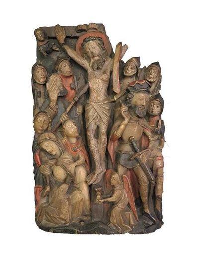 Deux plaques en albâtre sculpté en fort relief avec rehauts de polychromie représentant...