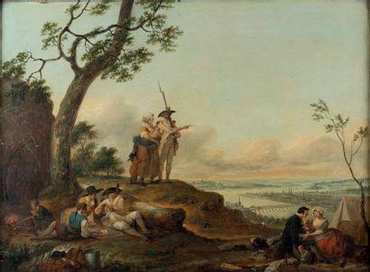 Louis WATTEAU de LlLLE (1731-1798)  Un grenadier faisant voir la ville de Coblence...