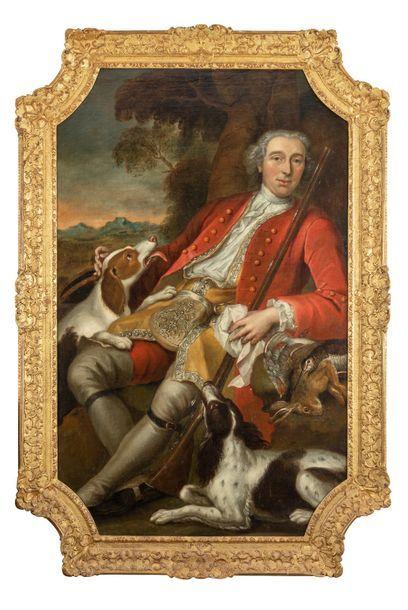 Ecole Allemande vers 1740  Chasseur et ses chiens près d'un arbre  Toile de forme...