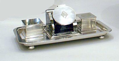 ENCRIER 1930 en métal argenté.