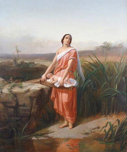 Charles-Augustin WAUTERS (1811-1869) MOÏSE ENFANT ET SA SOEUR MYRIAM AU BORD DU NIL,...