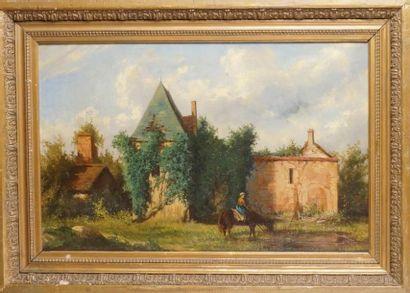 A. MAUFLASTRE, école française du XIXe siècle LE CHÂTEAU, 1870 Huile sur toile, signée...