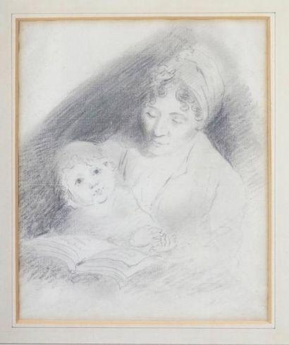 Attribué à Samuel SHELLEY (1750-1808) MÈRE ET ENFANT Fusain. 25,5 x 21 cm Provenance:...
