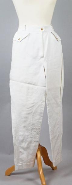 HERMES Paris PANTALON en toile de lin blanc. Taille: 38