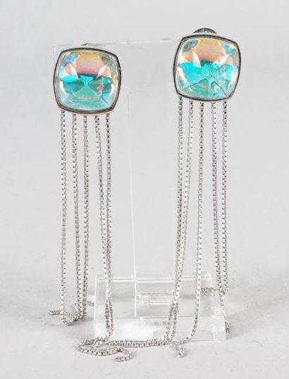 BACCARAT PAIRE DE CLIPS D'OREILLE en argent 925/1000 sertis de cabochons de cristal...