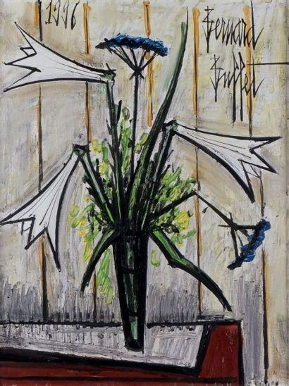 Bernard BUFFET - 1928-1999 VASE DE LYS ET AUX OMBELLES, 1996 Huile sur toile signée...