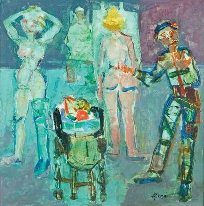 Paul AÏZPIRI - né en 1919 LE PEINTRE ET SES MODÈLES Huile sur toile signée en bas...