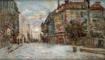 Charles PÉCRUS - 1826-1907 HONFLEUR Huile sur panneau signée et située en bas à droite....