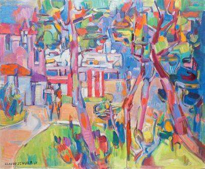 Claude SCHURR – 1921-2014 LES JARDINS DE JUAN-LES-PINS Huile sur toile signée en...