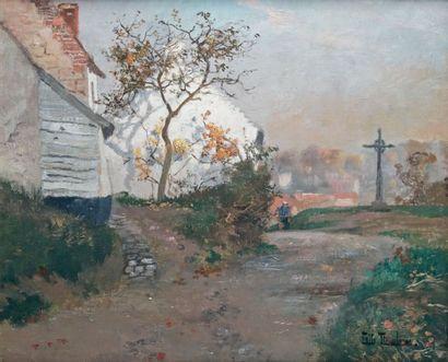 Fritz THAULOW - 1847-1906 LE CHEMIN DE PIQUIGUY Huile sur toile signée en bas à droite....