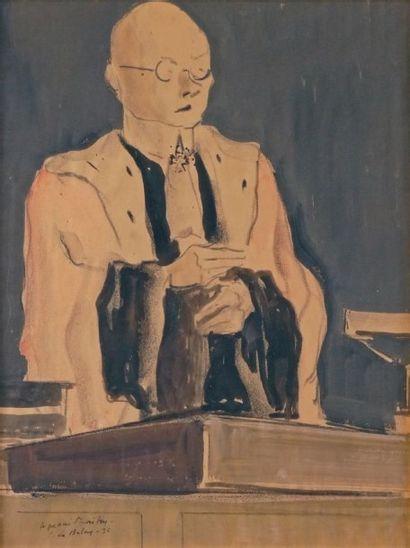 Pierre de BELAY - 1890-1947 LE PROCÈS, 1935 Aquarelle, encre de Chine et fusain signés,...