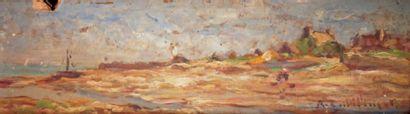 Antoine GUILLEMET – 1843-1918 CÔTE NORMANDE, LA MER À MARÉE BASSE Huile sur panneau...