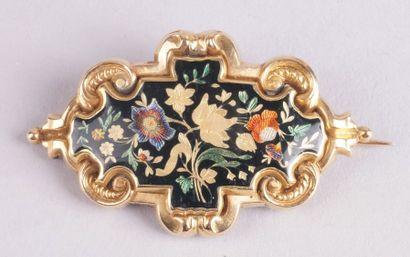 BROCHE en or jaune ajouré d'époque Louis-Philippe...
