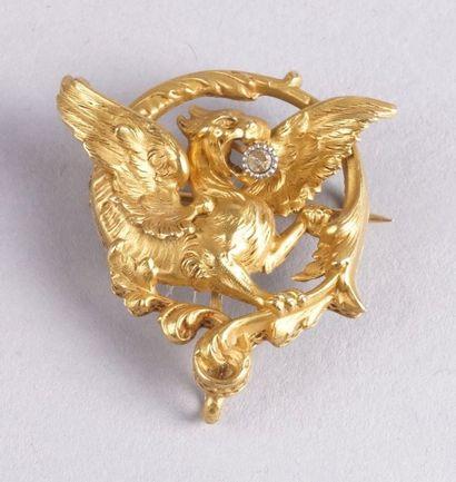 BROCHE DRAGON en or jaune d'époque Napoléon...