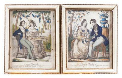 Trois lithographies aquarellées d'époque...