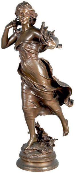 Félix CHARPENTIER - 1858-1924 BRISE Bronze à patine mordorée signé et titré, ancienne...