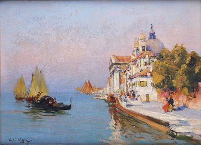 Raymond ALLEGRE - 1857-1933 VUE DE VENISE Huile sur panneau signée en bas à gauche....