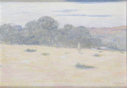 Louis Auguste GIRARDOT - 1856-1933 OASIS AU MAROC Huile sur toile marouflée sur panneau...