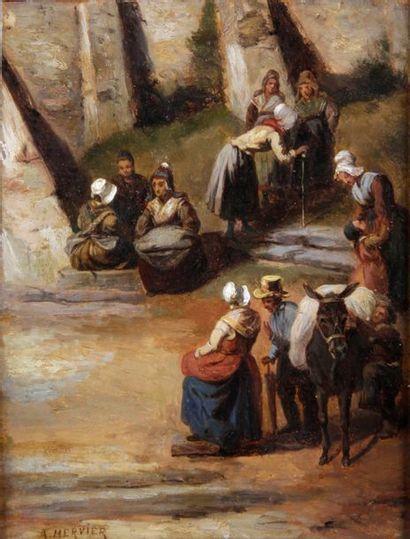 Adolphe HERVIER - 1818-1879 EN PROVENCE, L'ÂNE PORTE-FAIX Huile sur panneau signée...