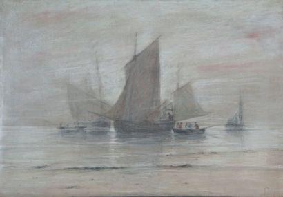 Ludovic Napoléon LEPIC - 1839-1889 LES PÊCHEURS DE BERCK Pastel sur papier marouflé...