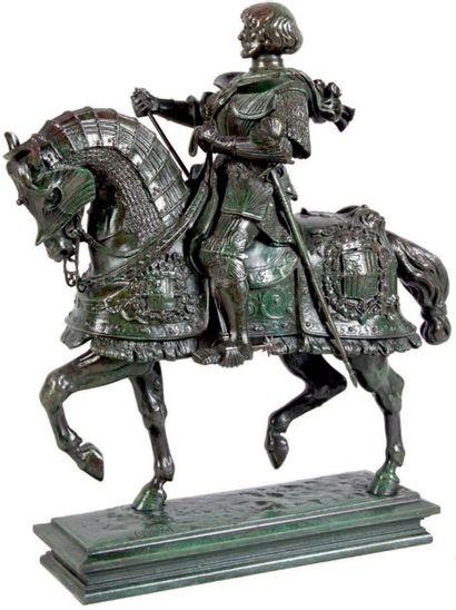 Antoine-Louis BARYE - 1795-1875 GASTON DE FOIX Groupe en bronze à patine richement...
