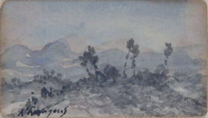 Henri Joseph HARPIGNIES - 1819-1916 AUVERGNE, LA CHAÎNE DES PUYS Aquarelle signée...
