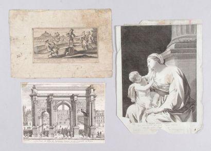 TROIS GRAVURES d'époque XVIIe siècle.